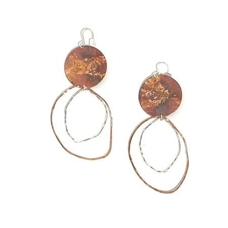 Patsy Kolesar Disc with Organic Circles Dangles - Copper/sterling silver