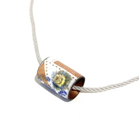 Patsy Kolesar Enamel Tube on Cord Necklace - Copper