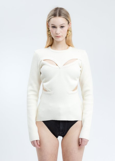 Y/project Cut Out Knit Sweater - Cream