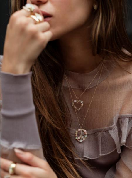 Studio Grun Mosaic Peace Necklace - Pink Cloud