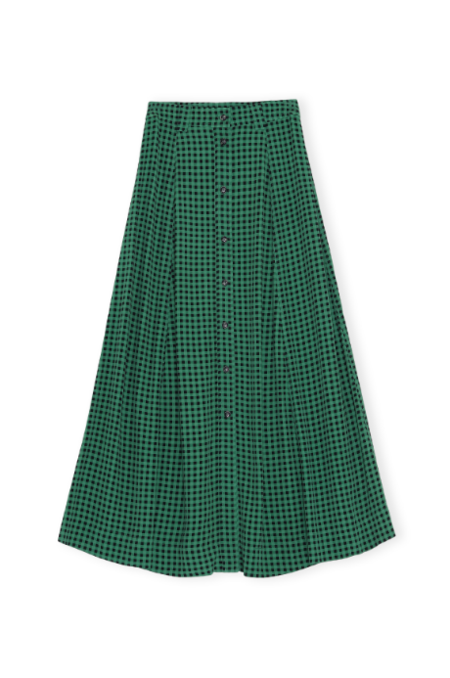 Ganni Printed Crepe Skirt - Foliage Green