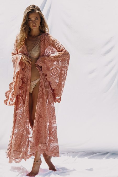 Jen's Pirate Booty Mandala Mantra Kimono - Clay