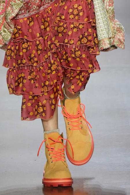 Anna Sui x John Fluevog Derby Swirl Boot - Peach Neon Orange