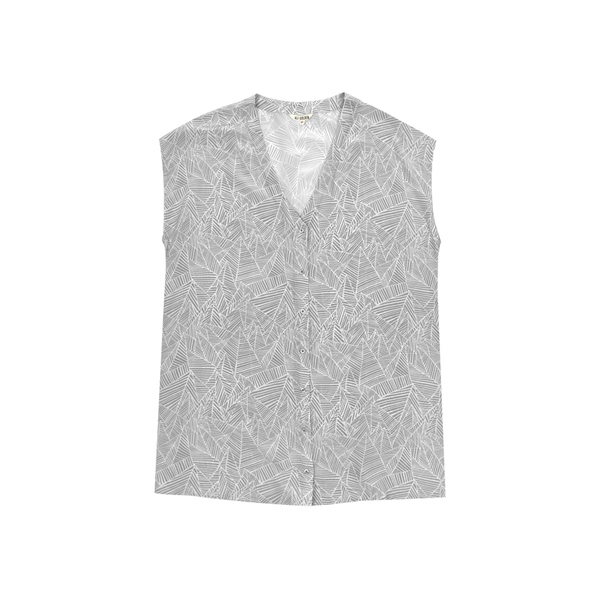 Ali Golden Silk Button-Down Tunic - Grey Print