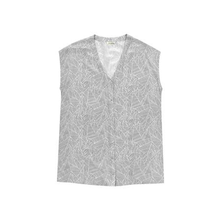 Ali Golden Silk Button-Down Tunic - Grey Print
