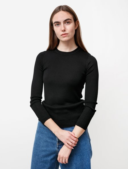 une heures womens Long Sleeve Silk Crewneck - Noir