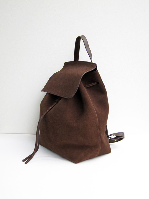 Mansur Gavriel Backpack, Chocolate, Suede