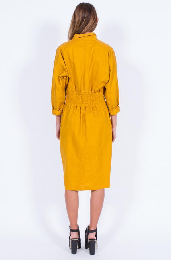 Yo Vintage! MUSTARD ZIPPER DRESS (MEDIUM)
