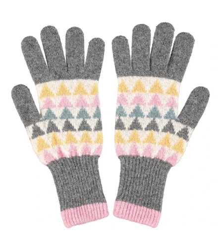 Catherine Tough Triangle Lambswool Gloves - grey/white/pink