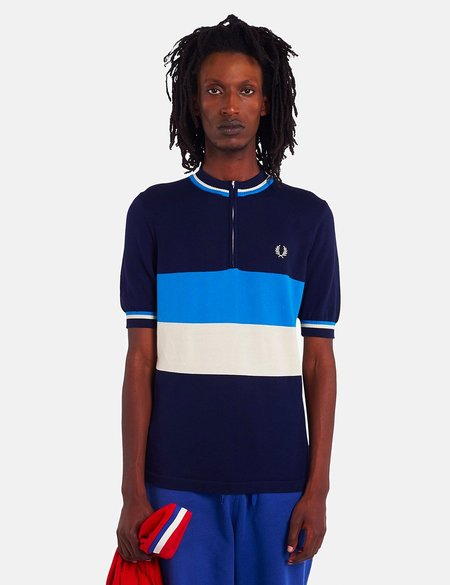 Fred Perry Re-Issue Knitted Half Zip Top - Carbon Blue