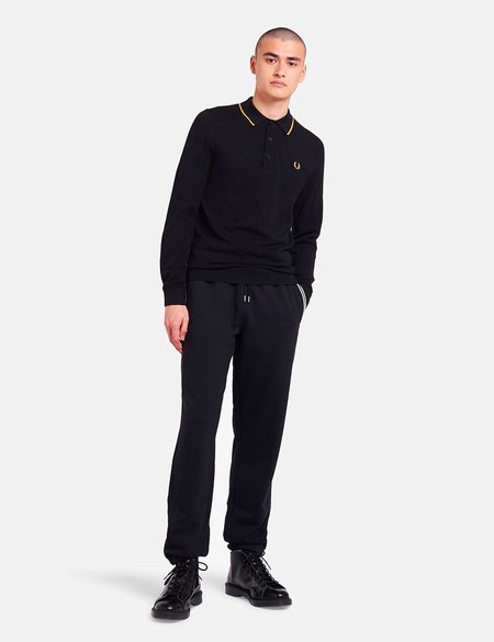 Fred Perry Tipped Knitted Long Sleeve Shirt - Black