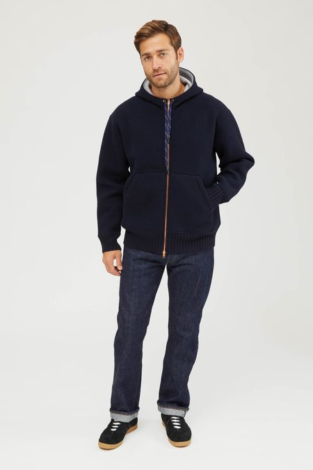 Presidents Pure Cashmere Bonded Bomber Zip Hood - Navy Blue