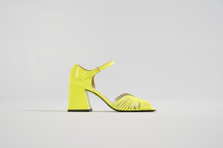 Suzanne Rae '70s Strappy High Heel Sandal - Neon Yellow