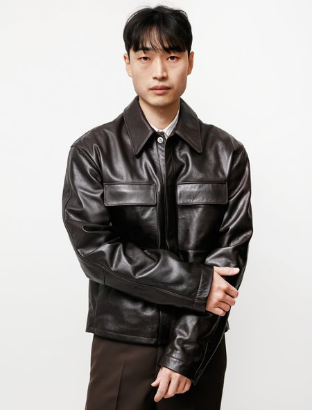 Lemaire Large Collar Leather Blouson - Dark Brown