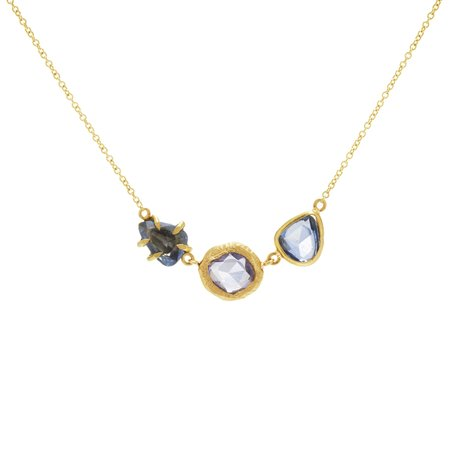PAGE SARGISSON 18K Triple Sapphire Necklace - 18 karat yellow gold