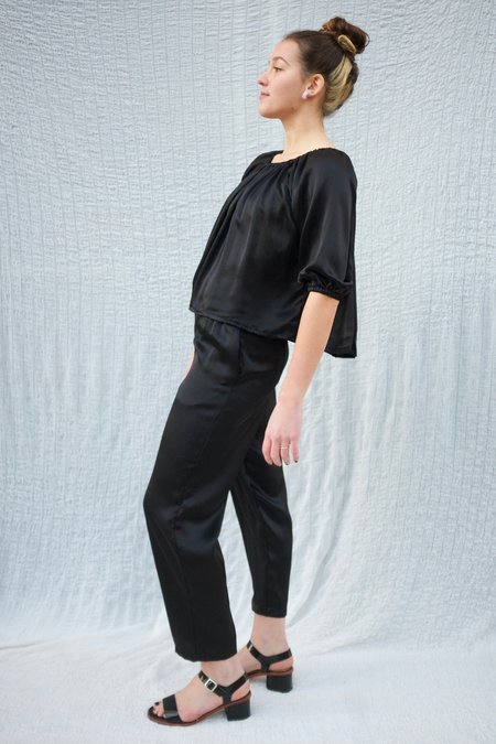 Miranda Bennett Hadid Silk Charmeuse Pant - Black