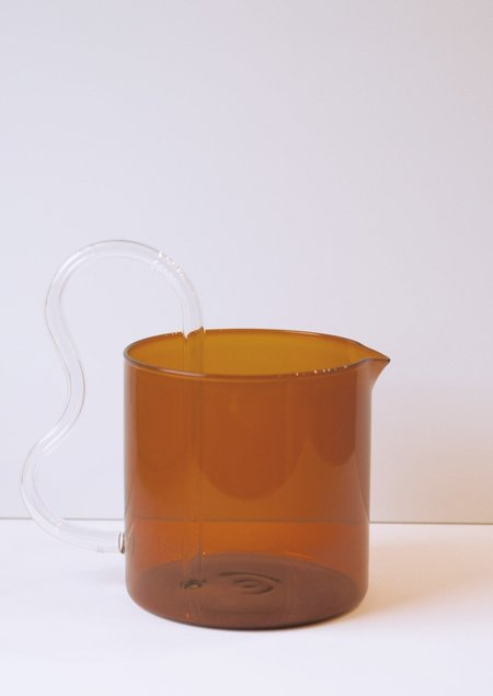 Sophie Lou Jacobsen Bean Pitcher - Amber with Clear Handle