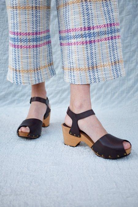 Lisa B. Peep Toe Clog - Dark Brown