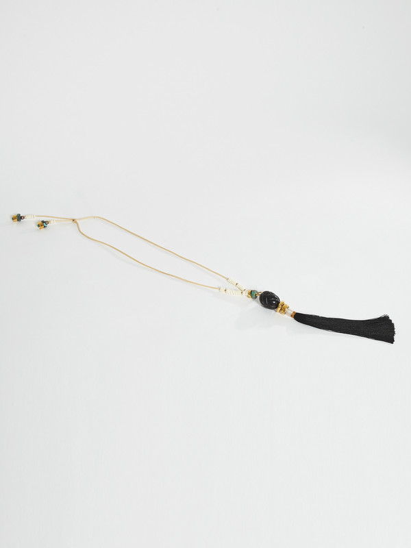 Lizzie Fortunato Agate Tassel Necklace