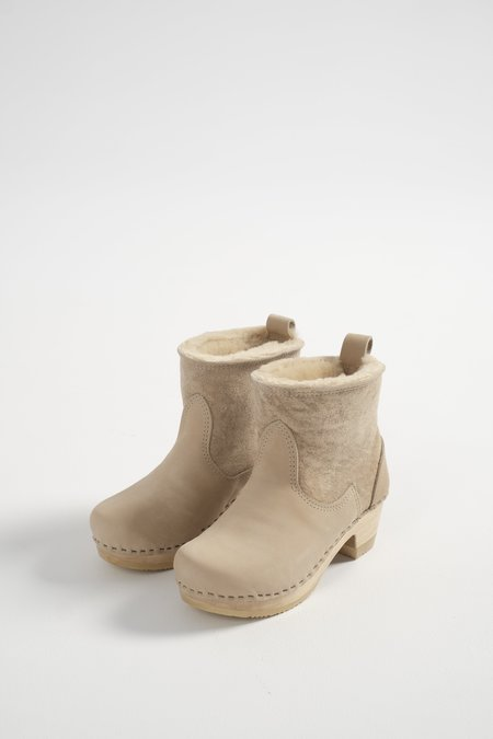 No.6 Pull on Shearling Mid Heel Clog Boot - Parchment Suede