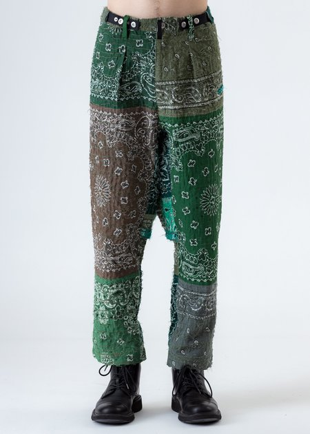 Children of the discordance Khaki Bandana Patch Work Quilting Pants - Khaki