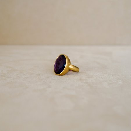 Tony Malmed Jewelry Faceted Amethyst Ring - 18 Kt Gold