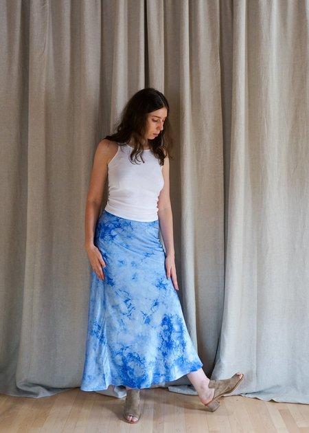 Annie Turbin Silk Bias Skirt - Light Blue Crystal Wash