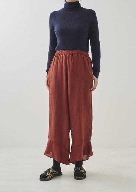 ne quittez pas Silk Frill Solid Trousers - Brick