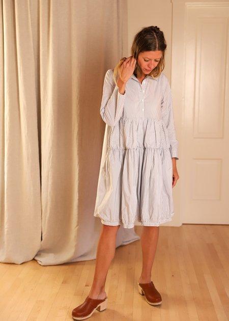 Les Filles d'Ailleurs Tiered Popover Dress - Stripes