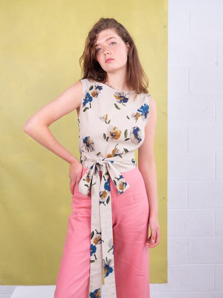 FME Apparel Tied To Me Wrap Top - Printed Flower