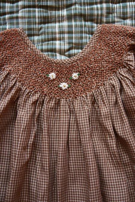 KIDS Bonjour Balloon Sleeve Dress - Caramel Vichy