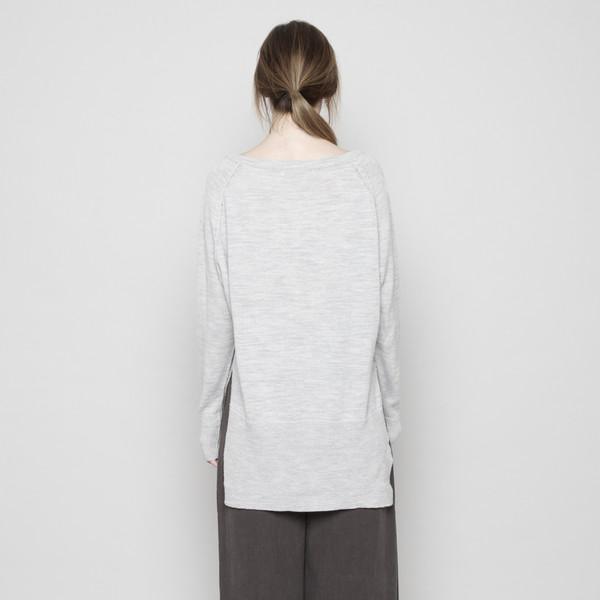 7115 by Szeki Exposed Seams Sweater - Light Gray FW16