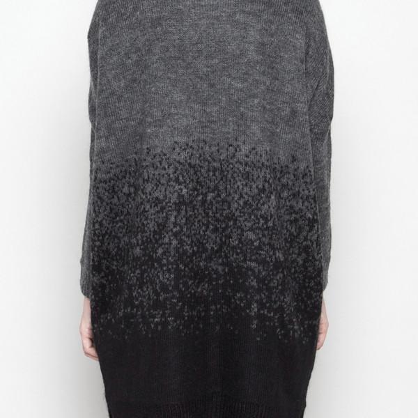 7115 by Szeki Mohair Gradient Long Cardigan - Black + Gray FW16