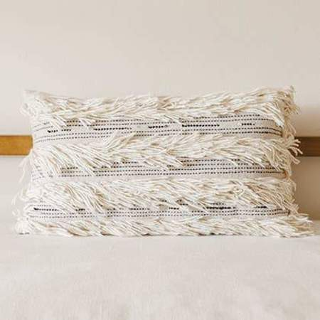 Kilim Fringe Throw pillow cover - white