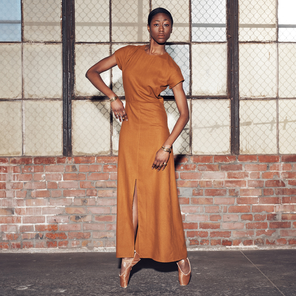 Ali Golden RAW SILK MAXI DRESS - RUST