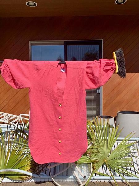 Nancy Stella Soto V-Neck Button Up Shirt Dress - Royal Pink