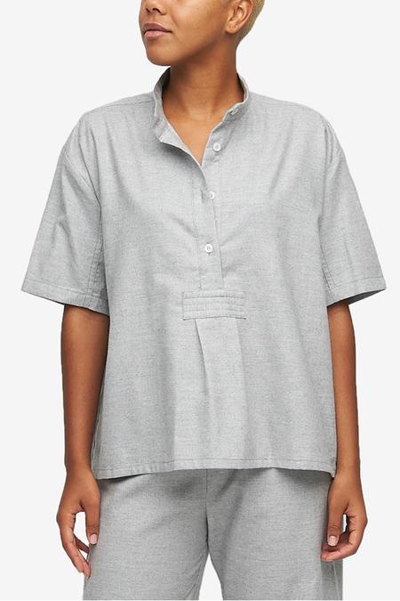 The Sleep Shirt Short Sleeve Cropped Shirt Twill Cashmere Blend - Grey