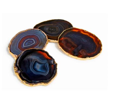 ANNA New York Lumino Gemstone Coasters - 24k Gold-Plated Gemstones