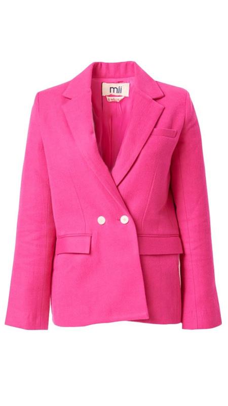 Mii Collection Woven Blazer - Stabilo Pink