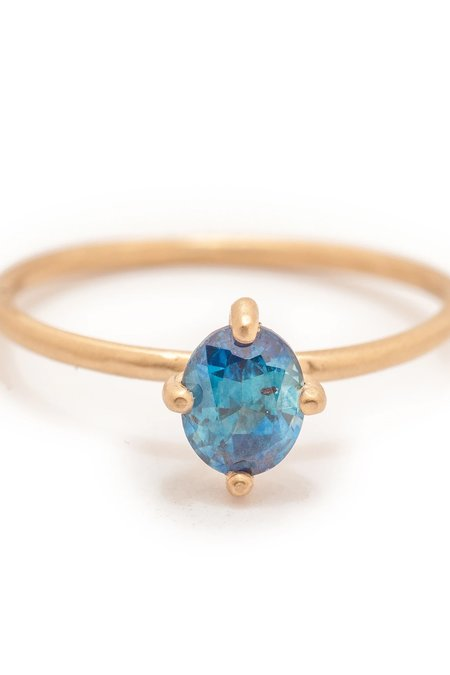 Valley Rose Ceto Solitaire 14K Gold Ring - Teal Montana Sapphire