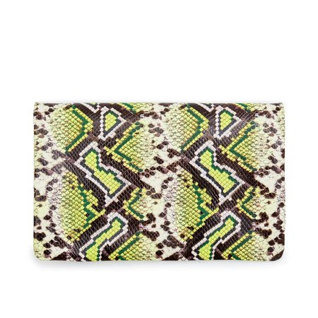 Clare V. Foldover Clutch w/ Tabs - Riviera Yellow Snake