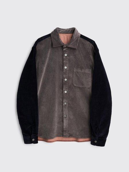 Tres Bien Crossed Yoke Corduroy Shirt - Grey Block