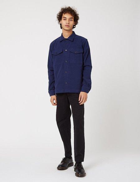 Bhode Cotton Moleskin Overshirt - Navy Blue
