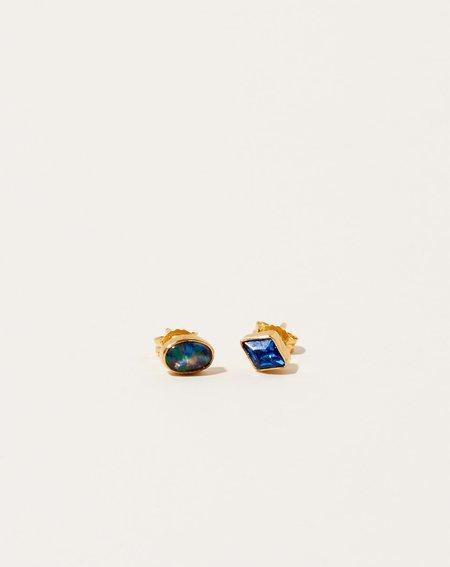 Grainne Morton Mismatched Oval Opal and Blue Diamond Studs