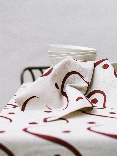 Mosey Me Whitewash Napkin Set - white/red