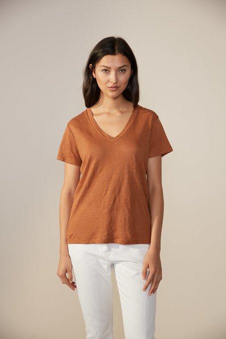 Laing Home Essential Linen V-Neck T-Shirt - Tan