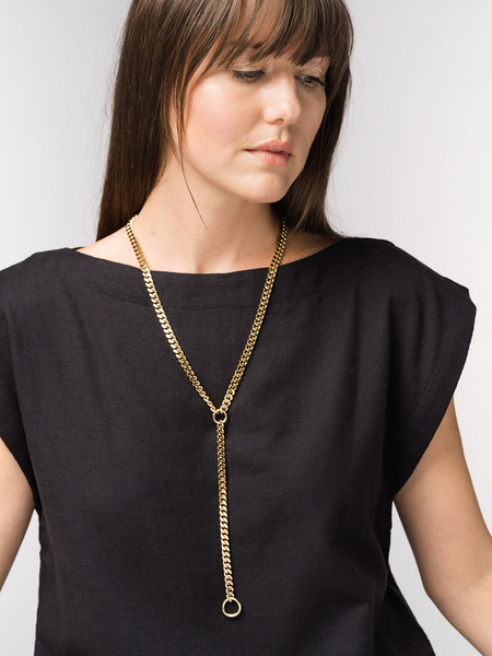 Laude The Label Curb Chain Y-Shape Necklace - 18K Gold