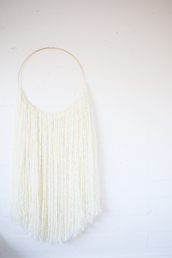 Sonadora White Fiber and Polished Brass Wall Hanging