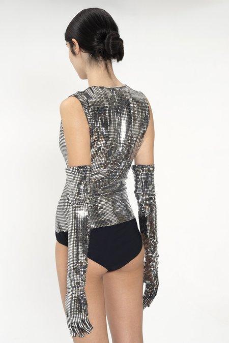 MM6 Maison Margiela Metallic Bodysuit - Silver