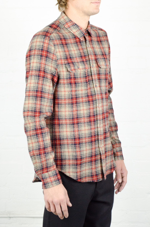 Men's Odin Worsted Wool Red and Tan Plaid Shirt
